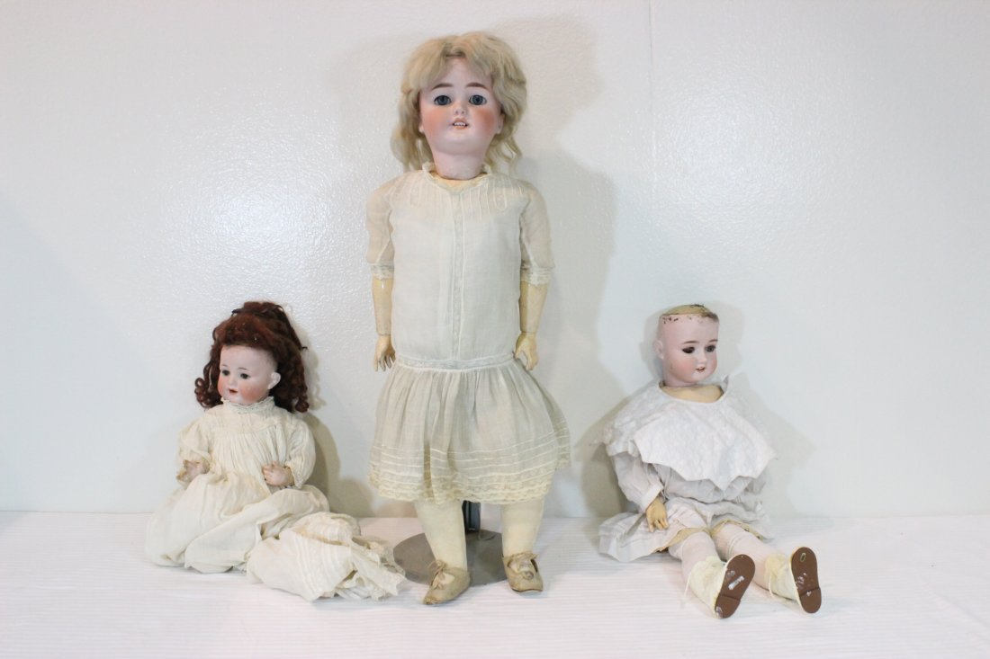 3 antique Germany bisque head dolls