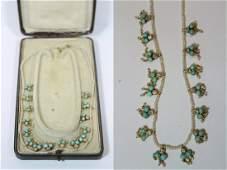 Vict. 14K diamond, turquoise necklace in original box