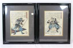 2 antique Japanese framed woodblock prints