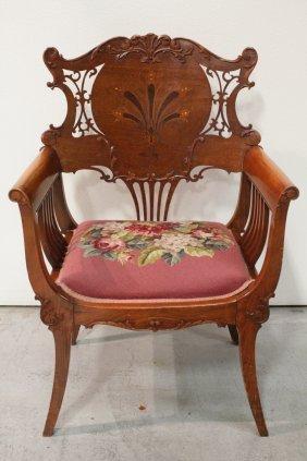 Art Nouveau Inlaid Cherry Wood Armchair