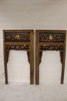 Pair Chinese 19th C. Gilt Wood Wall Panels