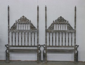 Pair Rococo Style Wood Carved Bed Frame