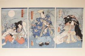 Japanese W/b Print Triptych By Kunisada Ii Utagawa