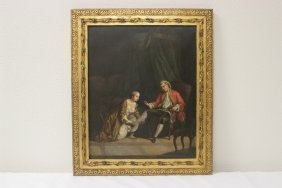 19th Century European Oil Painting On Tin