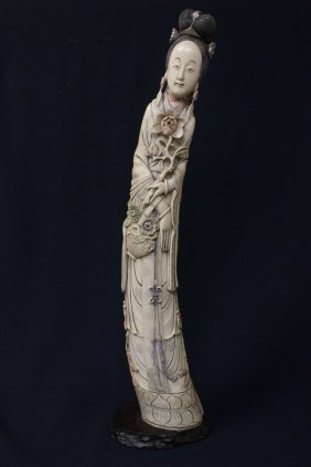Large Chinese 19th C. Ivory Carved Guanyin