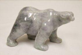A Rare Lavender Jadeite Carved Polar Bear