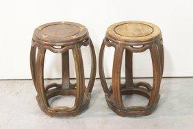 Pair Chinese Vintage Rosewood Drum Stools