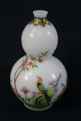Chinese Enamel On Milk Glass Gourd Shape Vase