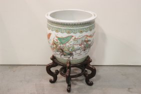 Lg Chinese Famille Rose Planter W/ Rosewood Stand
