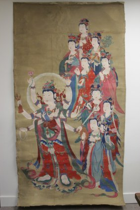 A Large Chinese Watercolor On Silk Panel
