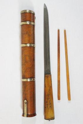 Chinese Bone Carved Chopstick & Knife Set