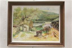 Large Chinese oil on canvas painting signed