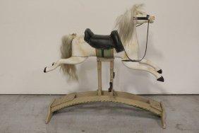 Vintage Wood Carved Rocking Horse