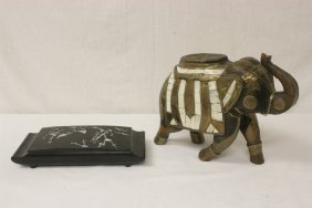 Japanese Box With Mop Inlaid, & A Wood Elephant
