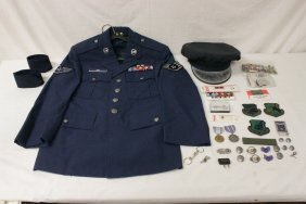 Lot Of Military Medals, Military Hat And Uniform