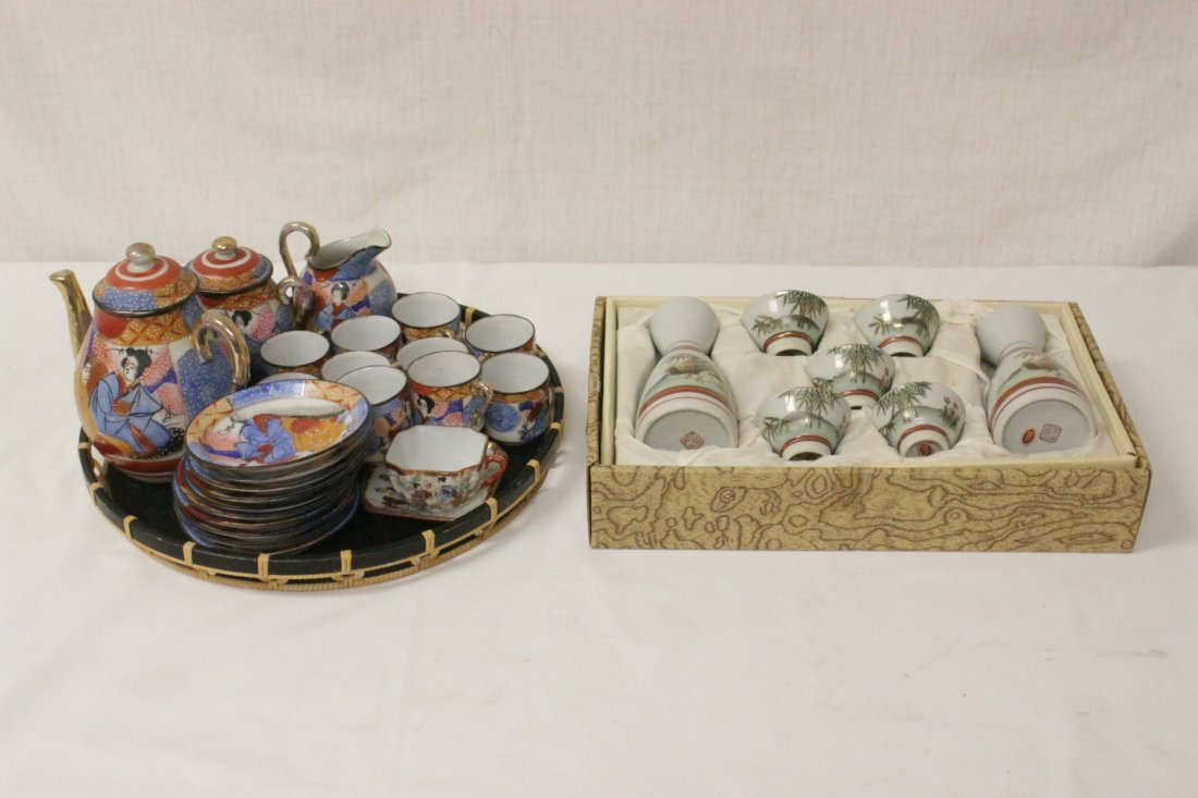 A Japanese Kutani tea set, and a Kutani sake set