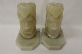 Pair Fine Onyx Carved Bookends In Figure Motif