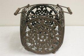 Antique Japanese Cast Iron Square Basket (?)