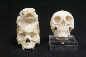 2 Ivory Carved Skulls