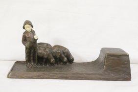 Austrian Bronze & Ivory Inkwell By Peter Tereszczuk