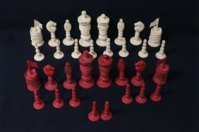 Carved Chinese Canton Ivory Chess Set