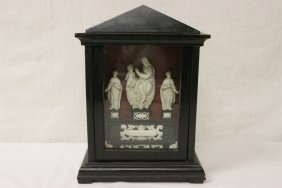 French Antique Shadow Box, With Ivory Carving