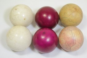 6 Antique Ivory Carved Balls
