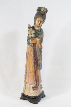 Chinese Polychrome Ivory Carved Court Lady