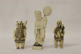 3 Chinese Antique Ivory Carved Figures