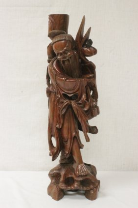 Large Chinese Rosewood Carved God Of Longevity