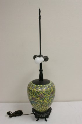 Chinese/japanese Antique Jar Made As A Lamp