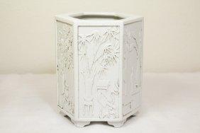 Chinese White Porcelain Hexagonal Brush Holder