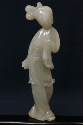 Chinese Celadon Jade Carved Standing Girl