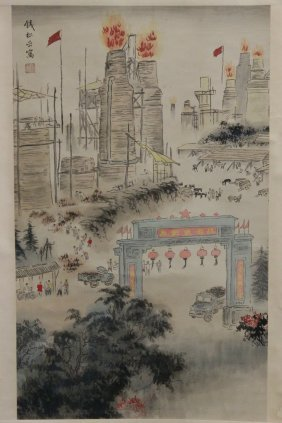 "Watercolor Scroll ""city Scene"""
