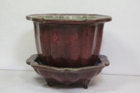 Song Style Red Glazed Planter With Under Plate
