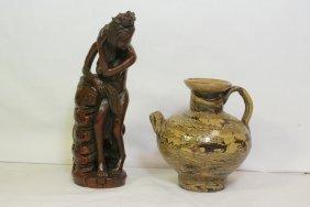 Wood Figure And A Marble Glazed Wine Server