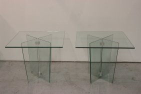 Pair Glass Top Tables With Glass Base