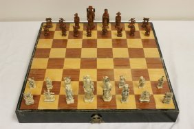 Chinese Ivory Chess Set With Inlaid Wood Box