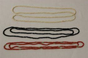 Ivory Bead, Coral & 14k Bead And Onyx Necklace