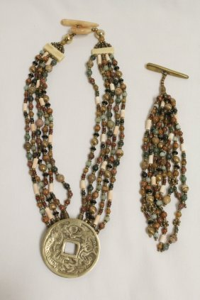 Chinese Various Bead Necklace, & A Pendant