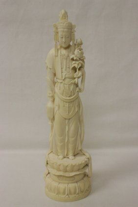 A Fine 19th/20th Century Ivory Carved Guanyin