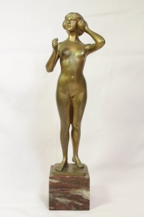 German Gilt Bronze Figure Of Nude By Hans Rieder