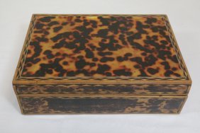 Antique Wood Sewing Box With Tortoise Shell Overlay