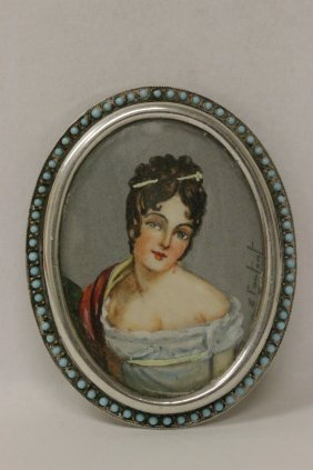 European Silver Framed Brooch