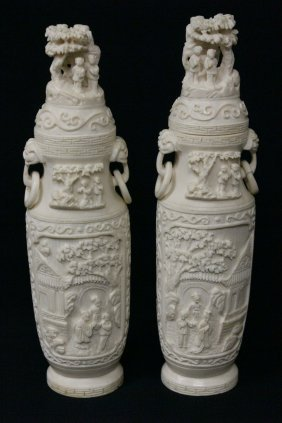 Pair Ivory Carving Vases