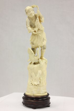 Large Japanese Ivory Carved Okimono