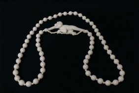 Unusual Ivory Carving W/ An Ivory Necklace