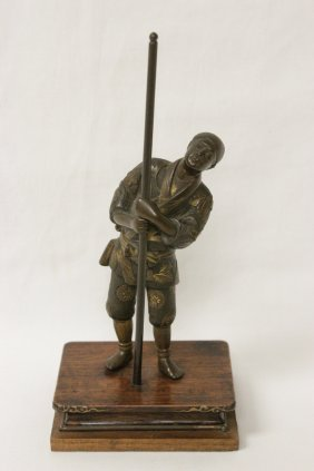 Japanese Antique Bronze Sculpture, Signed