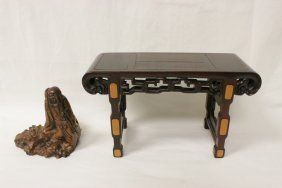Chinese Bamboo Root Carving W/ Rosewood Stand