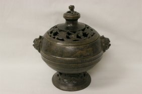 Chinese Bronze Censer With Lion Motif Handle